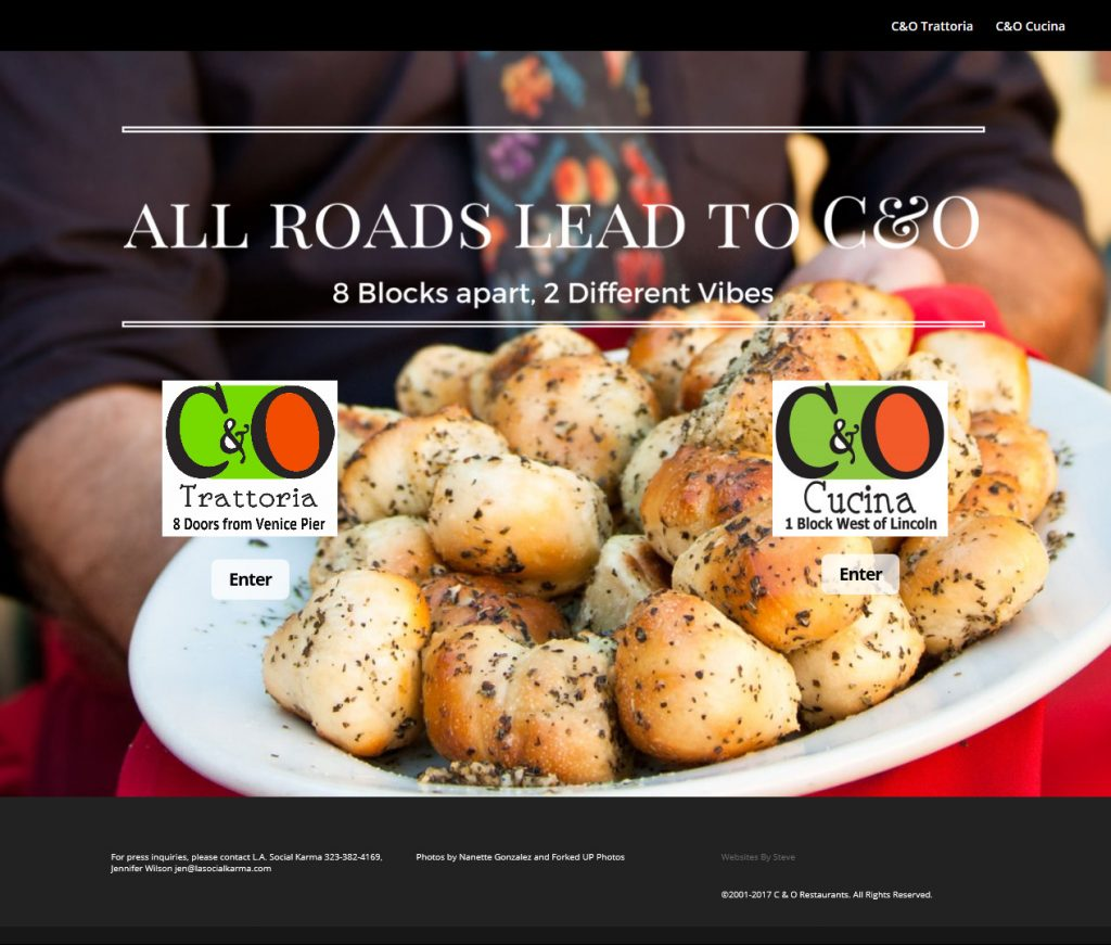 HomePage ScreenShot C&O Restaurants