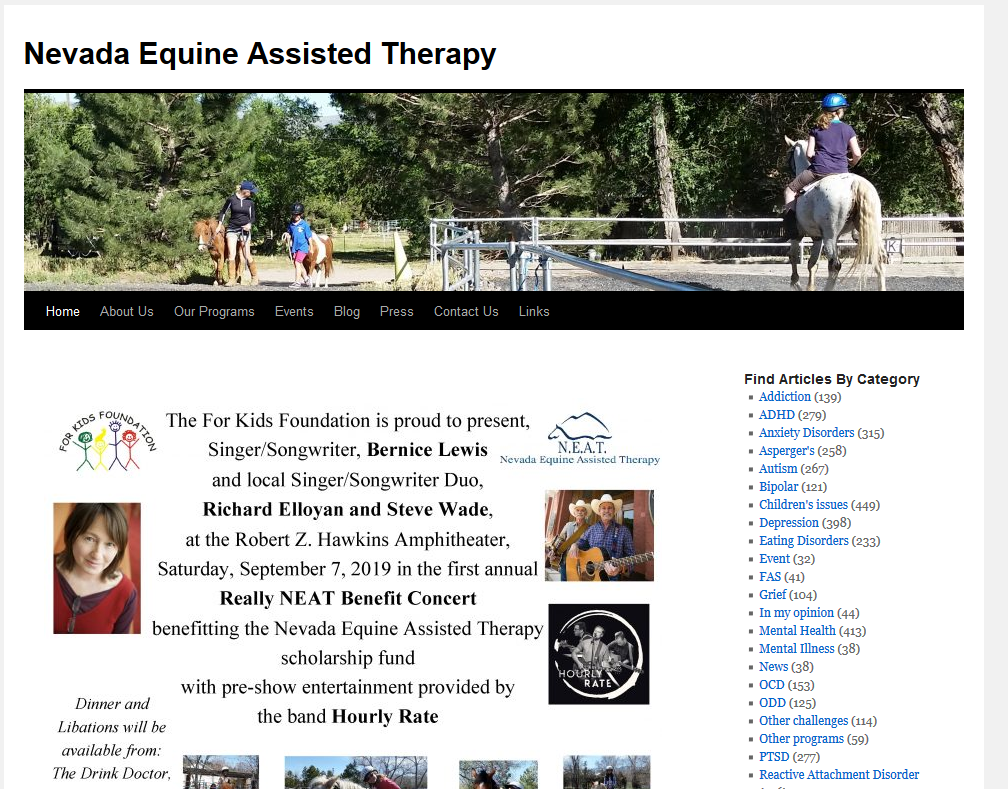 Home Page Screenshot of Nevada Equine Assisted Therapy